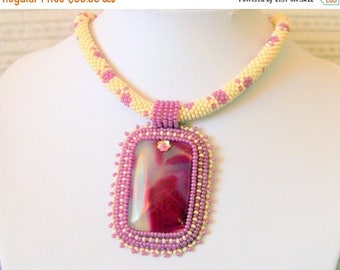 15% SALE Beadwork Bead Embroidery Pendant Necklace with Peachblow Agate - DREAM - beige - purple
