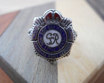 Antique Royal Canadian Army Service Corps Silver Birks Sweetheart Ring