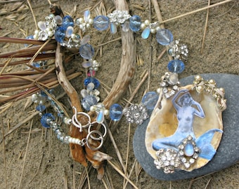 Mermaid's Grotto OOAK Wearable Art Assemblage Oyster Shell Diamante Mermaid Pendant Necklace