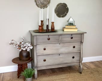 Antique Chest of Drawers - Empire Furniture - Vintage TV Stand - Fixer Upper Furniture - Antique Farmhouse - Distressed Furniture for Sale