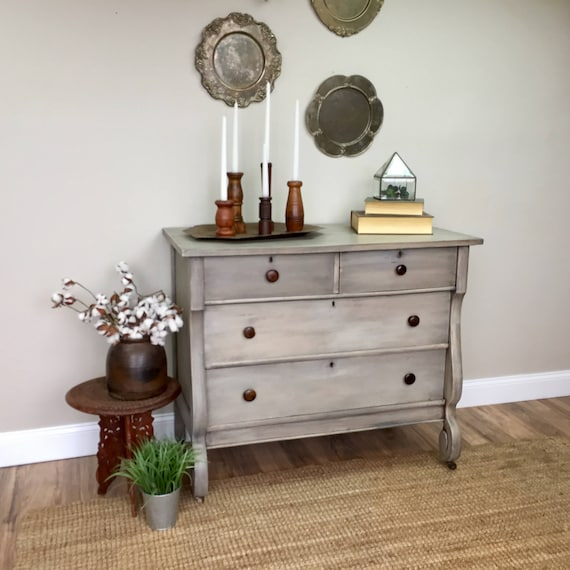 Antique Dresser - American Empire Furniture - Vintage Dresser for Sale - Fixer Upper Furniture - Grey Dresser