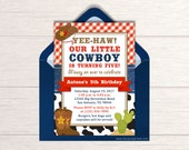 Cowboy Birthday Invitation - Printable Cowboy Party Invite - Country Western Themed Party Ideas - Little Cowboy Party Package - BP76