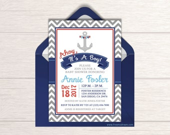 nautical baby shower invitation ahoy itu0027s a boy nautical themed shower navy baby