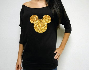 Glitter Disney Shirt // Mickey Head Silhouette // Disney Trip Shirt // Mickey Mouse Shirt // Disney Mickey Shirt // Disney Head Shirt