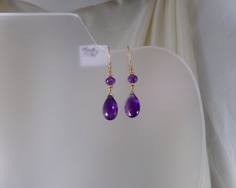 Purple amethyst earrings  gold filled gemstone handmade item 702