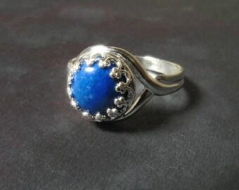 Lapis Lazuli Ring Gemstone 925 Sterling Silver Beautiful Blue Ring Natural Stone Ring Engagement Promise Rings
