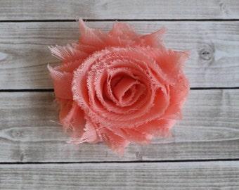 peach shabby chic rosette hair clip frayed chiffon flower clip