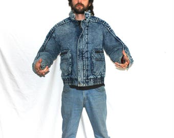 Vintage Acid Washed Jean Jacket. Super Radical Thick 80s Warm Denim Coat. Expressions Zip Up Retro 80s Acid Washed Mens Or Womens Fashion