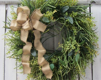 Grass Wreath -Eucalyptus Wreath - Boxwood Wreath - Year Round Wreath  - Spring Summer Door Wreath - Front Door Wreaths - Greenery Wreath