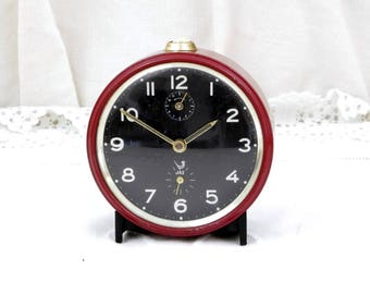 Working Vintage Mid Century French Red / Maroon Mechanical Jaz Alarm Clock, Wind Up Clock, European, Retro, Vintage, Home, Interior, France