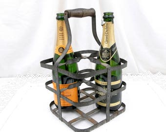 Antique French Metal Wine Bottle Carrier for 4 Bottles, French Country Decor, Shabby, Chic, Champagne Bottle Holder, Cellar, Picnic, Kitchen