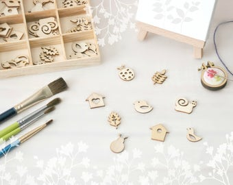 Garden Die Cuts - Wooden Die Cuts - Lady Bug Wood Shape - Laser Die Cuts - DIY Scrapbook - Kids Crafts - Bug Wood Shapes - Wooden Lady Bugs