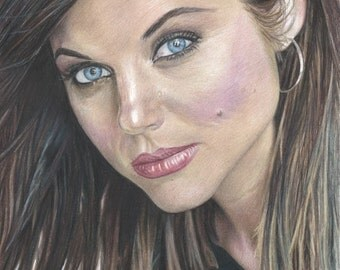 Color Drawing Print of Tiffani Amber Thiessen