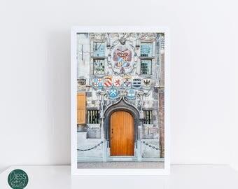 Door Photography Print, Doors of the World, Heraldic Shield, Regal, Unique Door, Door Wall Collage Photo, Orange, Red, Large Poster Door