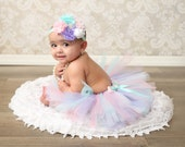Birthday Tutu Outfit - Cake Smash Outfit Girl - Tutu Set - First Birthday - Pastel Tutu - Pink Lavender Teal - Newborn Tutu Baby Tutu