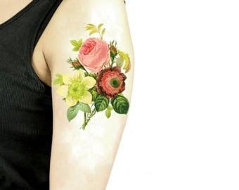 Floreale tatuaggio temporaneo grande / tatuaggio illustrazione floreale / fiori vintage tatuaggio temporaneo / tatuaggio da braccio grande