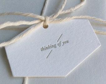 Set of 5 - Mini 'Thinking of You' Letterpress Hexagonal Swing Tags