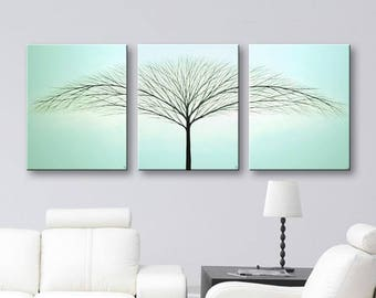 Canvas Art Wall Art Tree of Life Wall Decor Painting Wall Hangings Painting Home Decor Robins Egg Blue 48x20 Original Painting