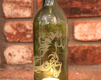 Horse Wine Bottle Lantern (Stand & Candle Included) Home Decor, Eco Friendly, Upcycled, Hostess Gift, Relax