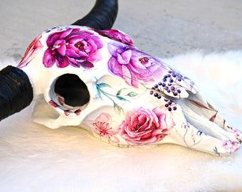 Pocket Full of Posies FAUX Cow Skull - cow skull - steer skull - floral skull - skull decor - home decor - boho home - faux taxidermy