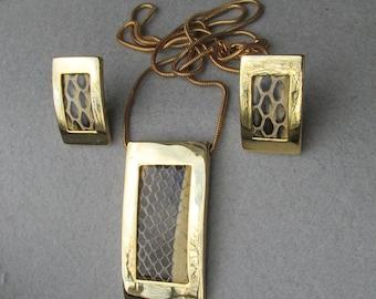 1970's Vintage Modernist Faux Snake Skin Necklace & Earrings Set