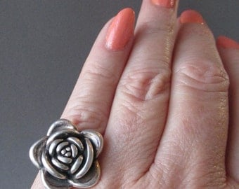 BIG Vintage 3-D Sterling Silver ROSE Flower Ring, Size 6.75