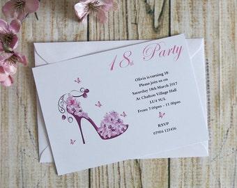 10 Pack Personalised Birthday Invitations & Envelopes Any Age 16th, 18th, 21st, 30th, 40th, 50th, 60th, 70th, 80th, 90th, 100th Personalized
