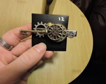 Steampunk Gears and Flower Barrette