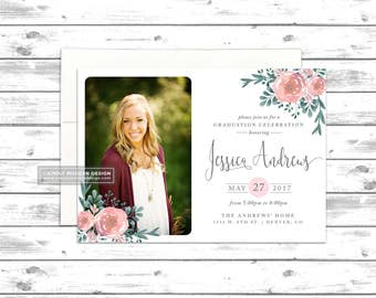 floral graduation announcement, invitation, rustic graduation invitation, graduation party, college open house, PRINTABLE or PRINTED CARDS