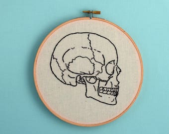 anatomically correct, skull, embroidery, medical textbook, skull diagram, science art, wall decor, skeleton, room decor, office decor, decor