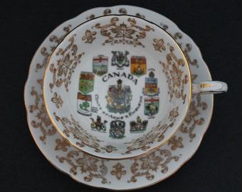 "PARAGON Fine Bone China Teacup and Saucer Set ""Canada"""