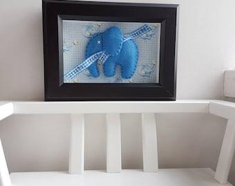 It's a Boy - Framed Felt Elephant