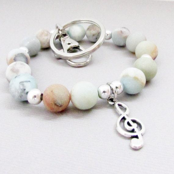 Keychain Bracelet, Wrist Keychain, Music Keychain, Lanyard Bracelet, Wristlet Keychain, Car Accessories, Gift for Her, Gift Under 20