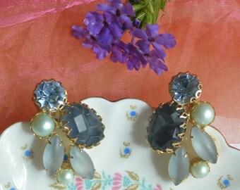 Elsa Schiaparelli Earrings - Blues Cabochons, Blue Rhinestones, Pearls - Signed - Vintage - Gorgeous!