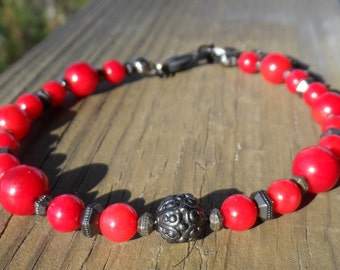 Red Bamboo Coral and Black Pewter Bracelet with Casbah Center and Lobster Clasp