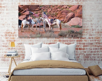 Horse photography, large wall art, Horse decor Mustang horse, Monument valley Arizona, horse print bedroom decor personalized home decor