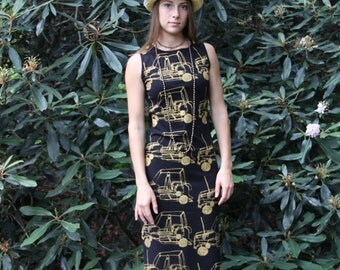 CujiCoo Dress, Cotton Lycra Dress, Manini Dress, Fitted Dress, Slip Dress,  T-Shirt Dress, Black and Gold Dress,Size Medium Dress