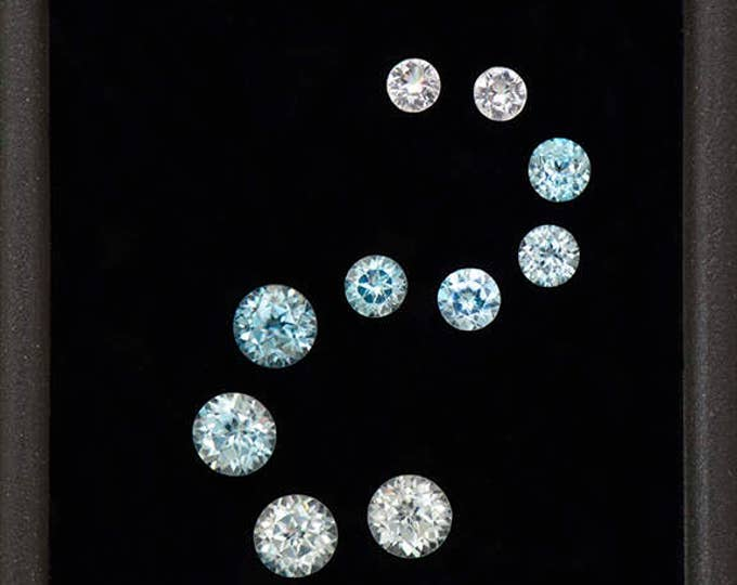 Glittery Blue and White Zircon Gemstone Set from Cambodia 2.43 tcw.