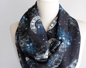 Dr Who Tardis Scarf Infinity Scarf Black Scarf Tardis Space Scarf Geek Gift For Her Doctor Who Gift Dr Who Fan
