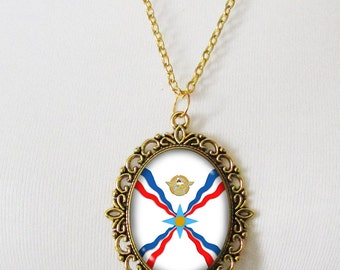Assyrian Necklaces, Flag Necklace, Assyrian Gifts, Assyria, Assyrian Gift, Assyrian Flag, Assyrian Jewelry, Assyrian Necklace