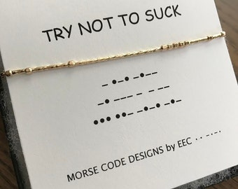 TRY NOT To SUCK Morse Code Necklace, Secret Message Jewelry, Morse Code Jewelry, Secret Code