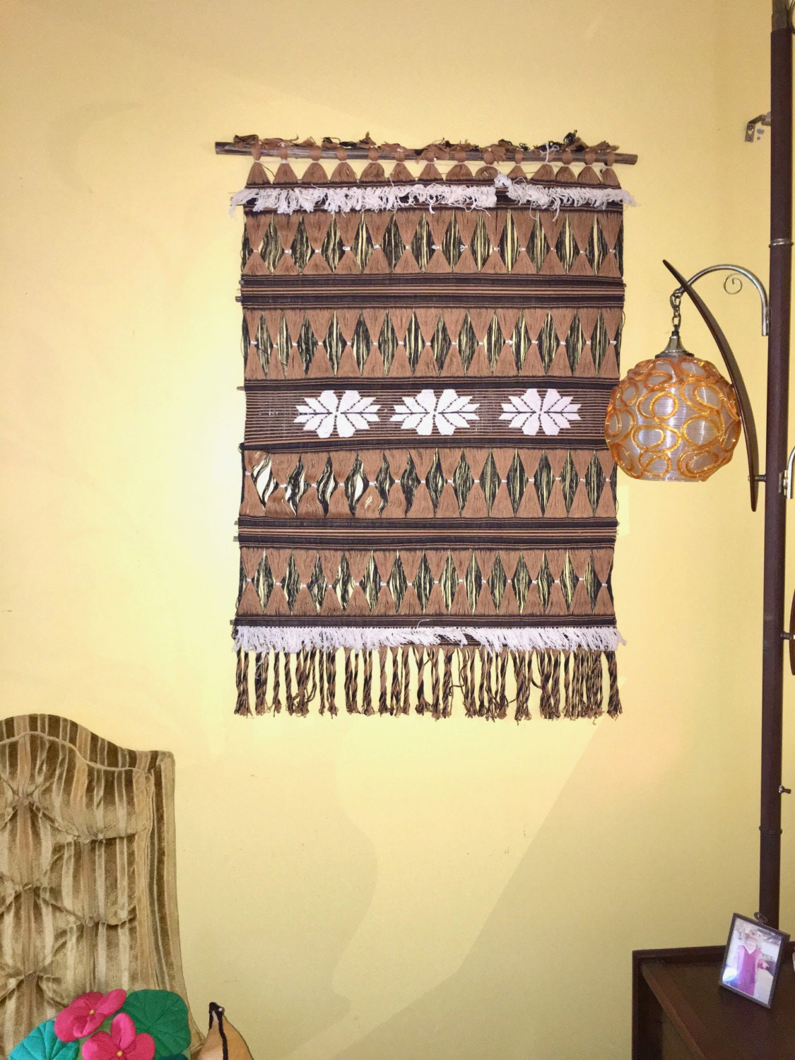 Vintage Woven Tapestry Wall Hanging Textile Art. Boho Wall Hanging ...