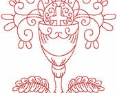 Redwork Faith & Devotions No. 10 Machine Embroidery Design/Christian Religious Pattern - 6 Sizes - Communion Chalice Cross