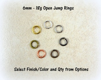 6mm Jump Rings - Silver, Brass, Copper, Gold or Gunmetal - Select Quantity and Finish from Options - 12 Gram Packet = 100-110 Jump Rings