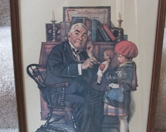 Vintage Norman Rockwell Doctor and Doll framed print