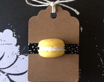 Yellow Macaroon Pin - 3D - Fake Food - Foodie Accessories - Lemon Cookie Brooch