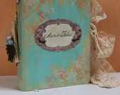 Mint and blush pink wedding guest book, photo album OR baby photo album - custom made 8.5X6 inches