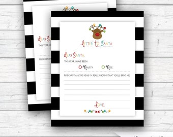 Children's Letter to Santa, Santa Letter, Naughty or Nice List, Christmas Wish List, Reindeer, Printable, Instant Download