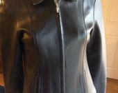Bebe Soft Leather Jacket Size S  /  Ladies Fitted Black Leather Coat  /  90s Bebe Jacket Small  /  Cheapvintagefashion