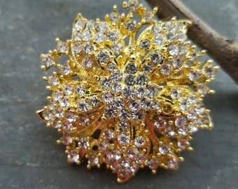 Gold Rhinestone Brooch Flat Back Embellishment Pin Clear Crystal Flower Broach Wedding Gold Tone Brooch Bouquet Sash DIY Supply Gold Pin gc2